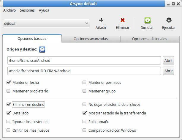 Grsync, sincronizador de carpetas en Linux Ubuntu/Mint