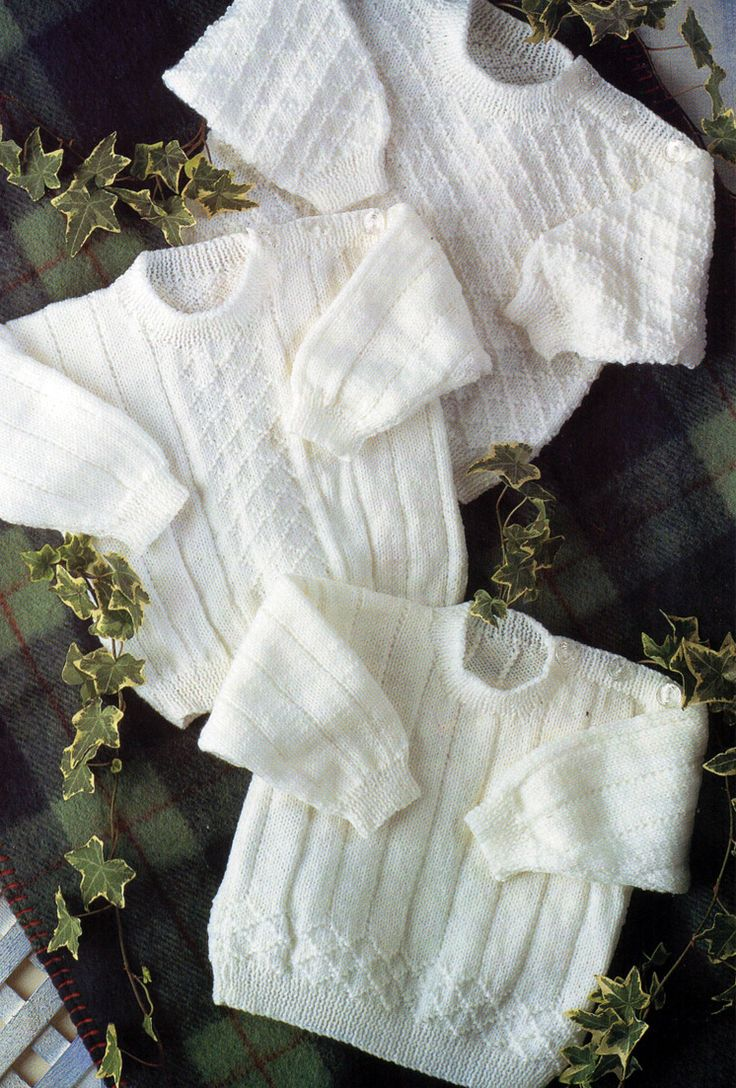 Knitting Patterns for 3 Baby Pullovers - Three diamond motif long-sleeved baby sweaters with buttons on shoulders to allow easy pulling on over baby's head. Sizes premature newborn 12-24inch. Patterns available on Etsy http://www.awin1.com/cread.php?awinaffid=234273&awinmid=6220&p=https%3A%2F%2Fwww.etsy.com%2Flisting%2F247662754%2Fbaby-knitting-pattern-pdf-baby-sweaters tba baby pullover with buttons