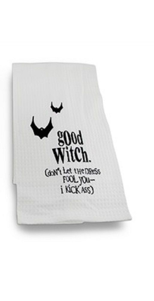 Bad Or Good Witch White Waffle Weave Kitchen Towel By C Amp F