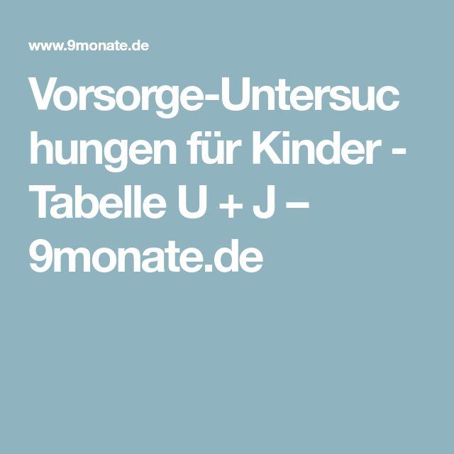 Vorsorge-Untersuchungen für Kinder - Tabelle U + J – 9monate.de