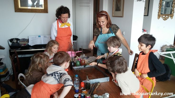 Happy Birthday to Aubrey.. We organised a very nice Ebru Workshop for him and with his friends from school - Art Activities for Children .-  Galata - Istanbul - February 2016. http://www.bazaarturkey.com/tours/turkish_marbling_lesson.html