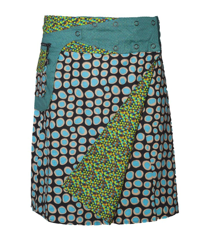 Rosanna Skirt Long Blue Pebble Print, one size fits all, expandable sizes, detachable feature pocket with zip.