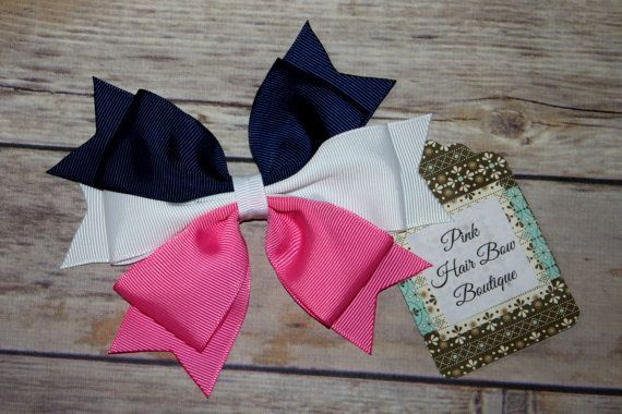 Pink Navy and White Hair bow Big hair bows by PinkHairBowBoutique