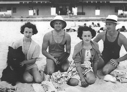 https://flic.kr/p/6Ro4aP | Group of young people enjoying a day at the beach with their dog, ca. 1935 | Photographer:  Unidentified  Location:   Queensland, Australia  View this image at the State Library of Queensland: hdl.handle.net/10462/deriv/106479 Information about State Library of Queensland's collection: pictureqld.slq.qld.gov.au/