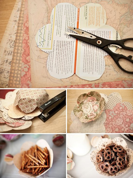 great idea: Paper Craft, Paper Flowers, Paper Basket, Flower Bowls, Party Ideas