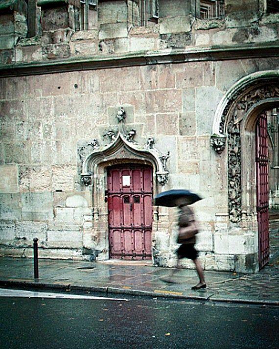 Paris In The Rain Photography Print Paris Wall Art Decor Red Etsy In 2021 Rain Photography Paris Wall Art Paris Decor