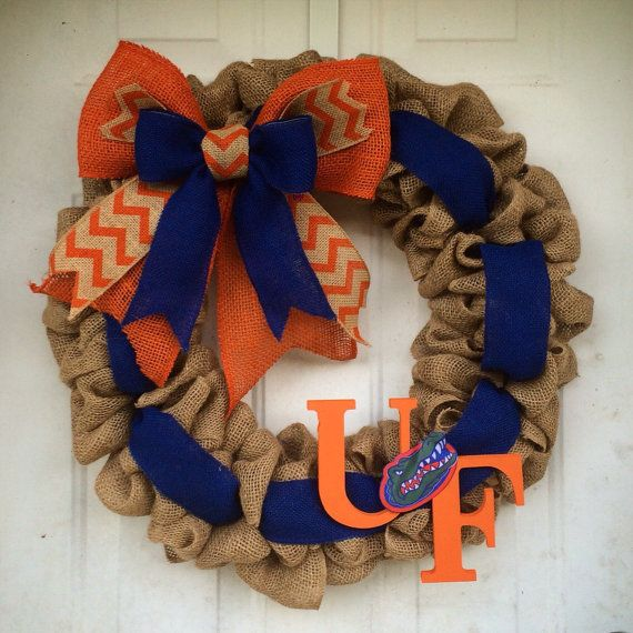 Florida Gators Burlap wreath Orange and Blue University of Florida Gator Nation 22 football season special!!! Wire wreath form natural burlap orange burlap blue burlap ribbon chevron wood football and UF letters