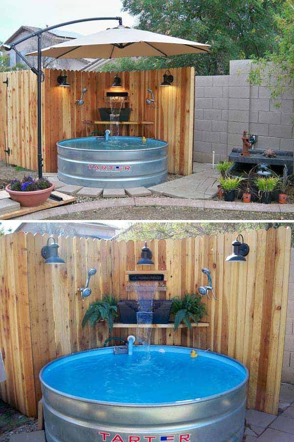 #7. Turn galvanized stock tank into a luxury outdoor pool. The umbrella was set up on a weighted platform and coveres the whole area.