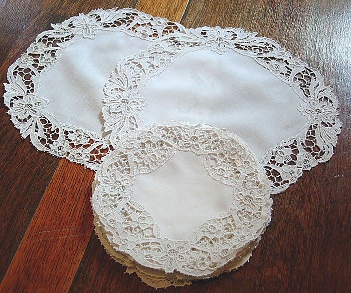 Em's Heart Antique Linens -Antique Embroidered Italian Linen Needlelace Cocktail Mats Doilies