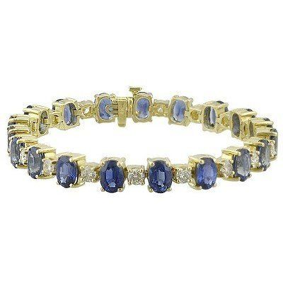 """14K Yellow Gold Sapphire and Diamond Bracelet Gems-is-Me. $15071.28. FREE PRIORITY SHIPPING. This item can be special ordered with different gemstones and/or different color gold. Please email me for a quote.. This item will be gift wrapped in a beautiful gift bag. In addition, a """"gift message"""" can be added.. Save 40% Off!"""