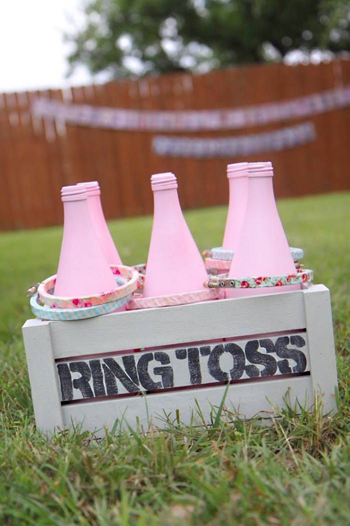 Ring toss game from a Shabby Chic Farmers Market Birthday Party via Kara's Party Ideas | KarasPartyIdeas.com - The place for all things PARTY! (43)