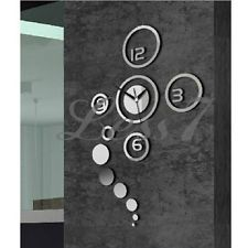 3D DIY Home Modern Creative Decoration Living Room Wall Clock Crystal Mirror