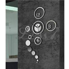 3D DIY Home Modern Creative Decoration Living Room Wall Clock Crystal Mirror