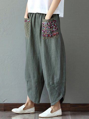 Gorgeous Casual Print Patchwork Loose Irregular Pants For Women - NewChic Mobile.
