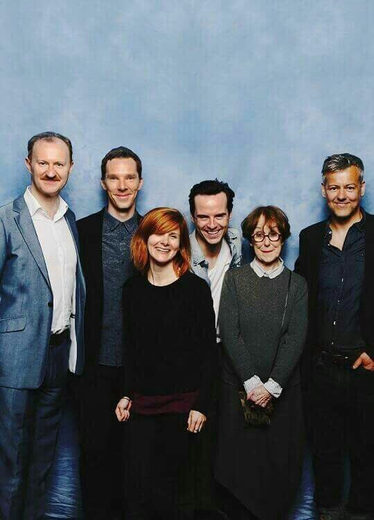 Mark Gatiss, Benedict Cumberbatch, Louise Brealey, Andrew Scott, Una Stubbs and Rupert Graves