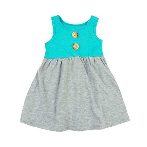 Button Tank Dress - mini mioche - organic infant clothing and kids clothes - made in Canada