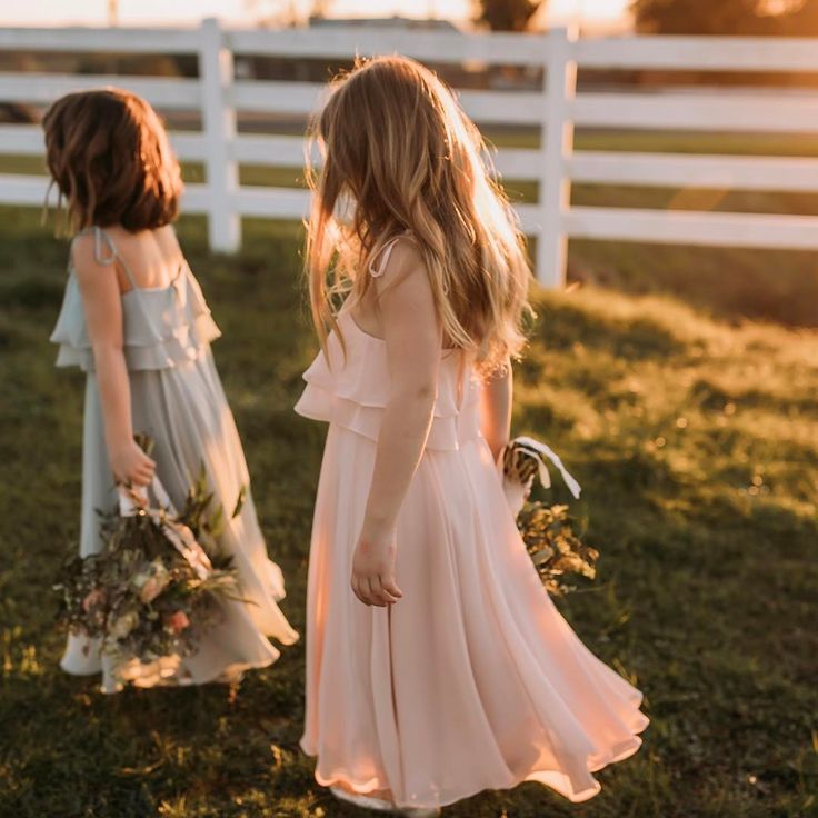 "Bohemian Inspired Chiffon Flower Girl Dresses by Jenny Yoo. Jenny Yoo Flower Girl dress named ""Penny"" in Luxe Chiffon: Bohemian flair for the cutest member of your bridal party!"