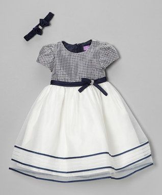 Beige & Navy Lattice Dress & Headband - Infant & Toddler