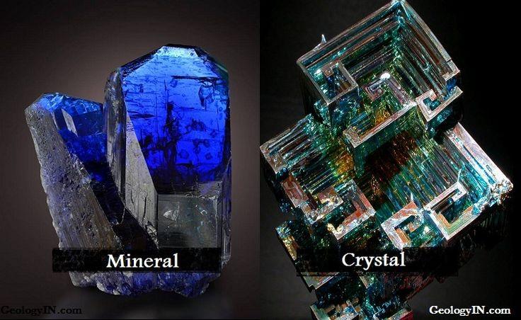 Left : P air of tanzanite crystals!  From Arusha Region, Tanzania  Credit: Anton Watzl Right : Man-made Bismuth crystal By kskt4   ...
