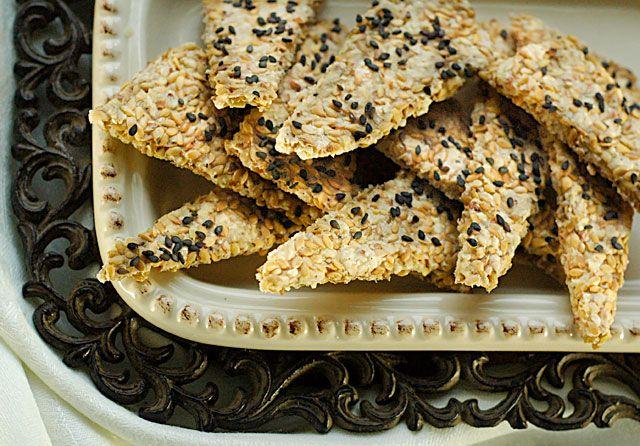 Black Sesame and Flax seed crackers