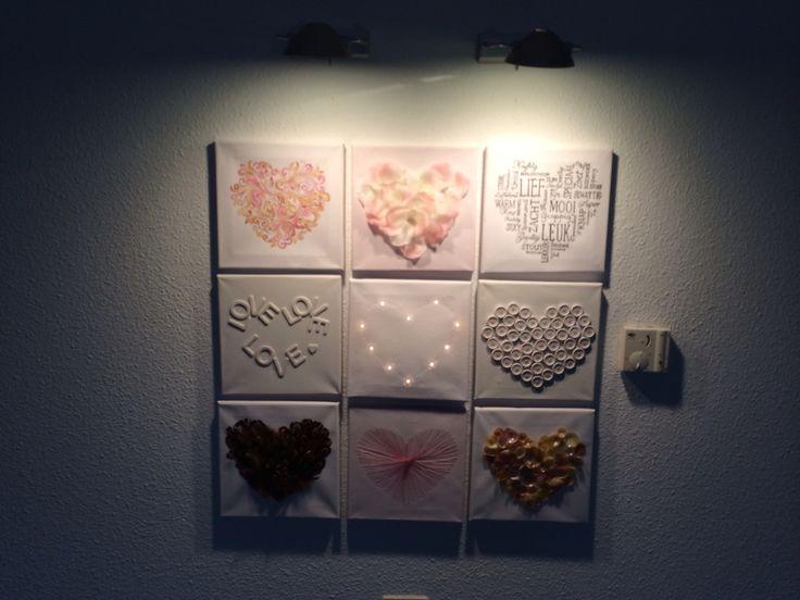 Geïnspireerd door pinterest :-)  Een aquarel hart, een hart van bloemblaadjes, een hart van woorden, een hart van letters, een hart van licht, een hart van knopen, een hart van veren, een geborduurd hart en een hart van schelpen.