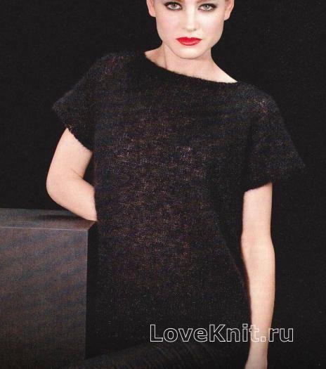 Стильное черное платье схема спицами » Люблю Вязать