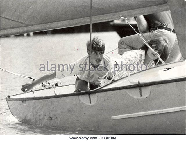 Prince Edward And Lady Sarah Spencer Sailing At Cowes ROYALTY SAILING SHIPS SEVENTIES SPORT BRITISH ROYALTY MALE - Stock Image