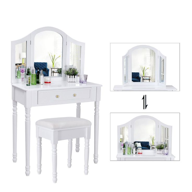 Biely toaletný stolík Diana de Poitiers so zrkadlom - detail zrkadla