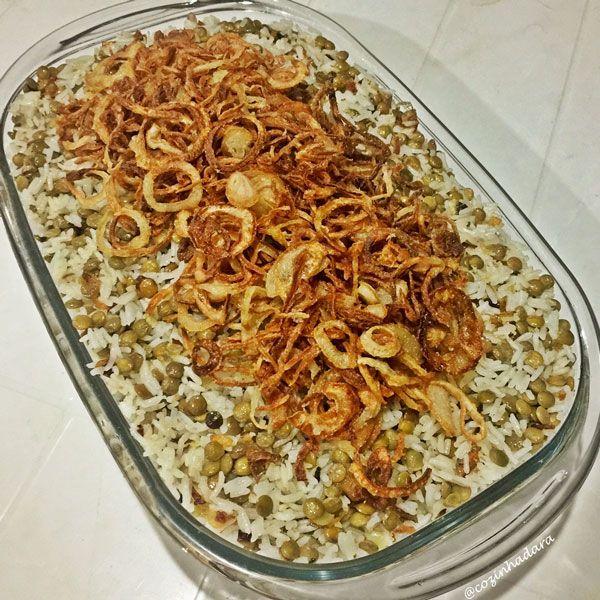 Arroz com Lentilha e Cebola Frita