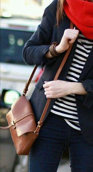Striped top, blazer, leather shoulder bag