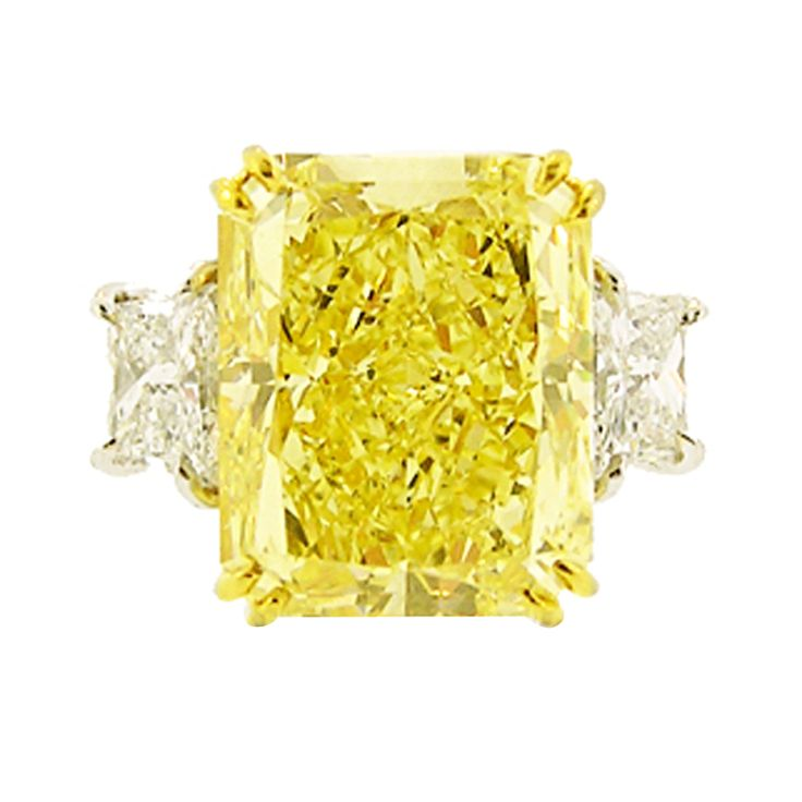10-Carat Natural Canary Yellow Radiant-Cut Diamond Ring | From a unique collection of vintage solitaire rings at https://www.1stdibs.com/jewelry/rings/solitaire-rings/