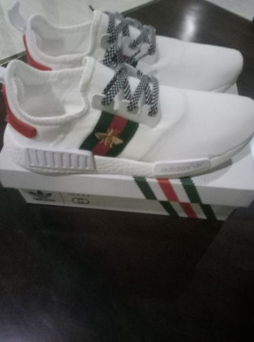 368f0d90d Women's Custom ADIDAS NMD R1 x GUCCI BOOST BEE White Runner Trainers US 5-  7.5