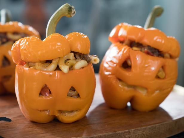 Get Jack-o'-Lantern Stuffed Peppers Recipe from Food Network (make with mushrooms instead of meat)