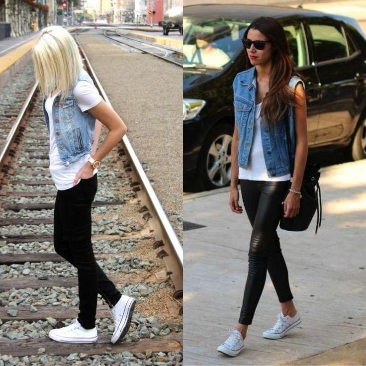 look street style sportif - pantalon noir flatteur, T-shirt blanc, gilet en jean et baskets blancs