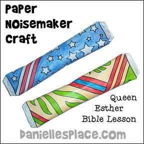 Bible Craft for kids - Paper Noisemakers Bible Craft for Queen Esther Bible Lesson from www.daniellesplace.com