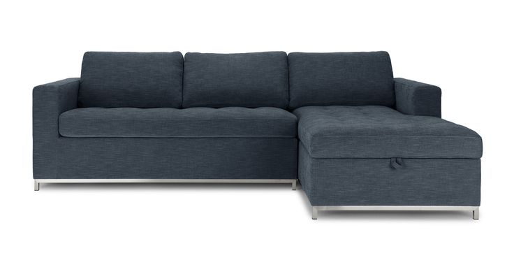 Soma Midnight Blue Right Sectional Sleeper Sofa - Sectionals - Article   Modern, Mid-Century and Scandinavian Furniture