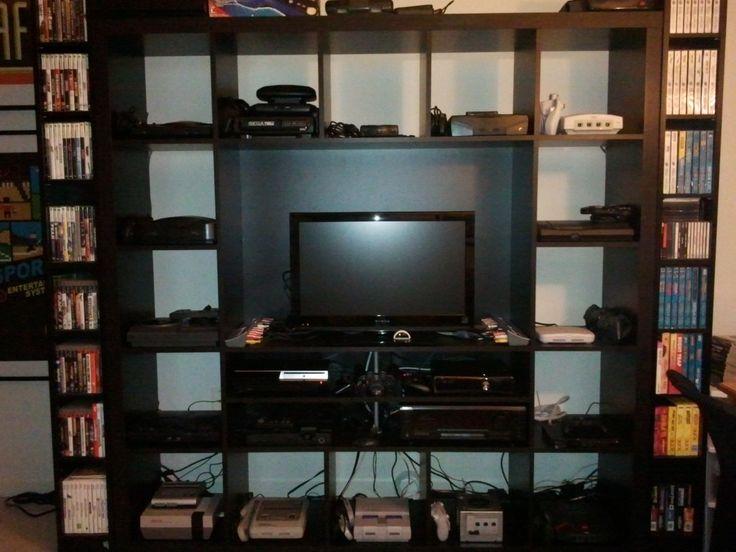 video game console setup th den slash man cave pinterest video games. Black Bedroom Furniture Sets. Home Design Ideas