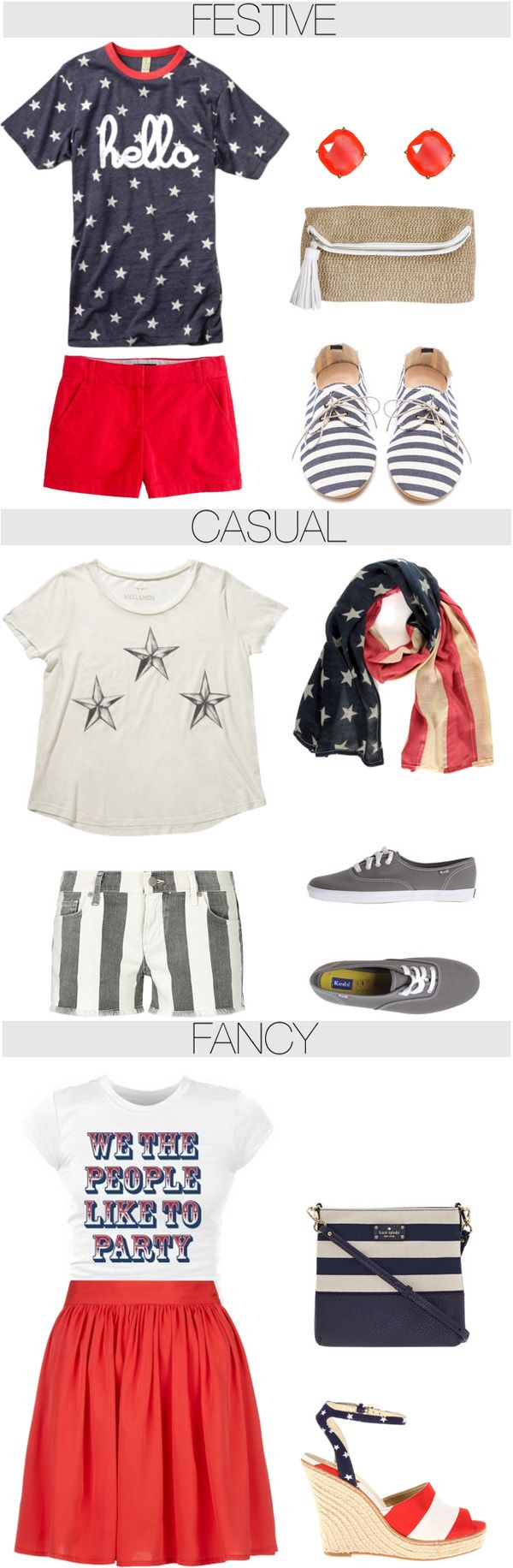 4th of July Attire! Clothes Casual Outift for • teens • movies • girls • women •. summer • fall • spring • winter • outfit ideas • dates • parties Polyvore :) Catalina Christiano
