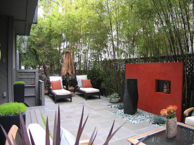 zenIdeas, The Gardens, Red Wall, Side Yards, Outdoor Room, Small Spaces, Patios, Outdoor Spaces, Accent Wall
