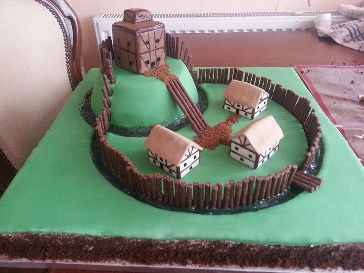 motte and bailey cake for my sons school project... won 2nd place :)                                                                                                                                                                                 More