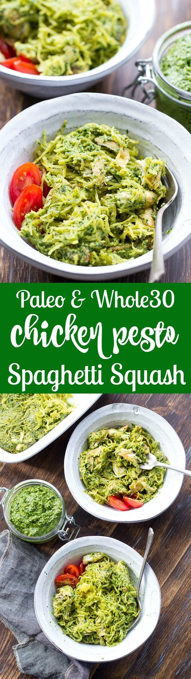 Perfectly cooked spaghetti squash is tossed with a flavor-packed Paleo  Whole30 pesto and seasoned chicken for a healthy filling meal even squash haters will love! This Paleo spaghetti squash dinner makes great leftovers too! Whole30, dairy free and low carb.