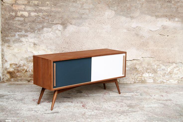 teak furniture TV Hifi tailor-made in France, Gentlemen Designers - Side House