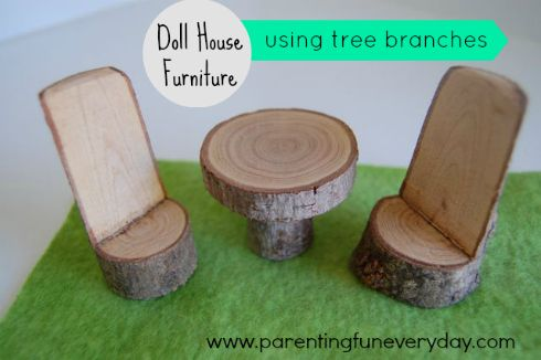 "doll house furniture. What better way to get the kids outside and cure the ""I'm bored's""?"