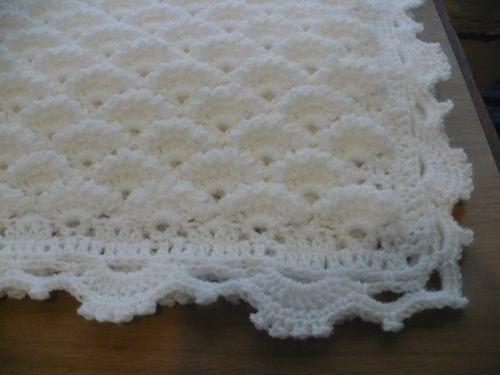 Mantilla manta del mar tejida crochet para bebe 380 for Mantas de lana hechas a mano