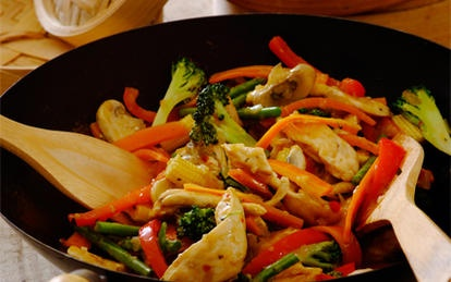 Fragrant Thai Chicken Stir-Fry: Once you have all the ingredients ready, chicken stir-fry is quick and easy to cook! The combination of mint and coriander stirred through at the end really lifts all the flavours and gives it a good kick.