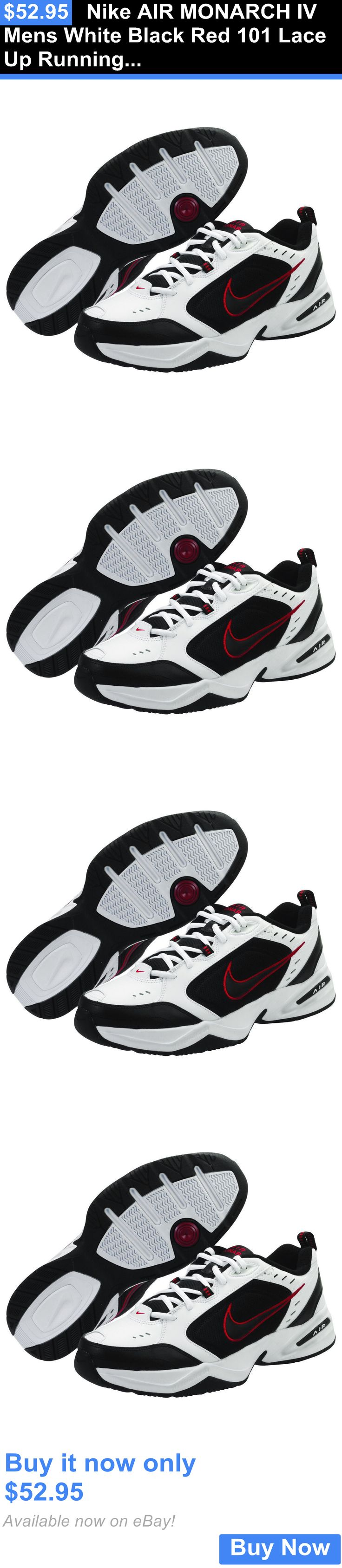 Men Shoes: Nike Air Monarch Iv Mens White Black Red 101 Lace Up Running Training Shoes BUY IT NOW ONLY: $52.95