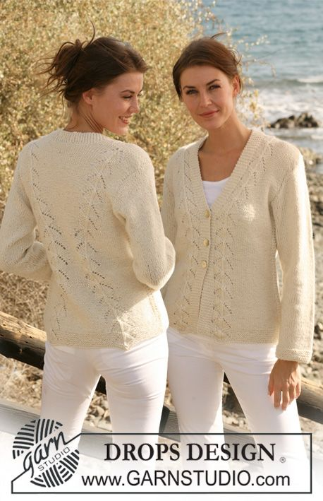 "Knitted DROPS jacket with lace pattern in 2 threads ""Alpaca"". Size S-XXXL. ~ DROPS Design"
