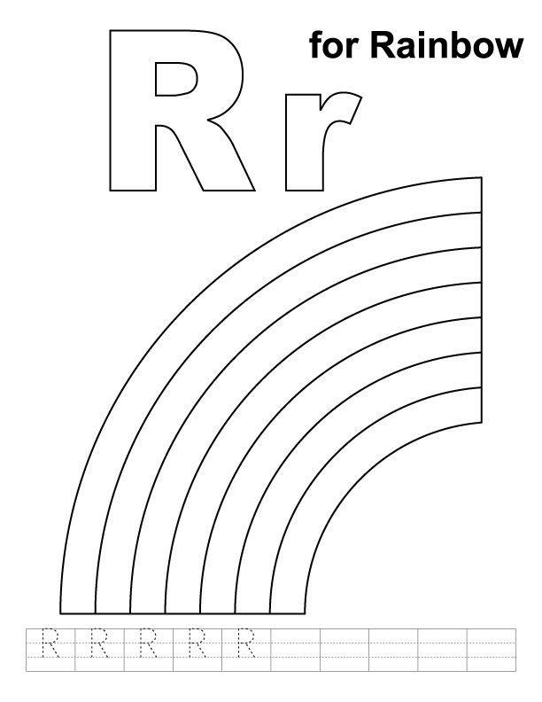 R for rainbow coloring page with handwriting practice ...