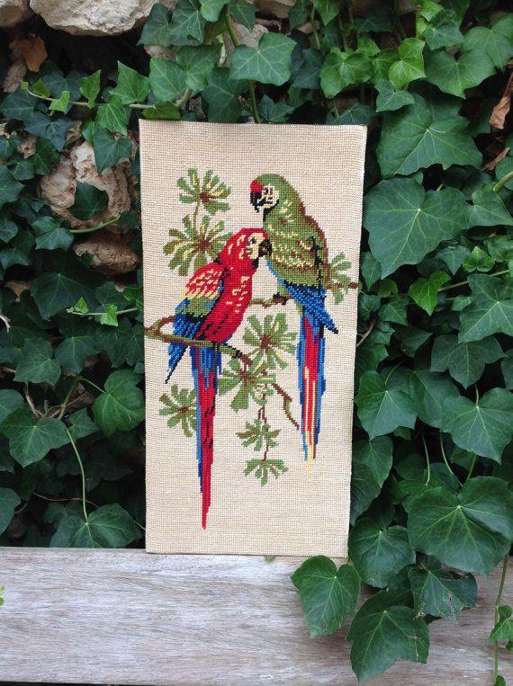Vintage  parrots tropical design exotic birds summer palm  tree 1970