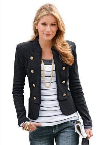 Military jacket over striped T....love this....but it probably wouldn't look that good on me..